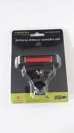 Sinalizador Traseiro TRONIK USB  Recarregável Luz Vermelha