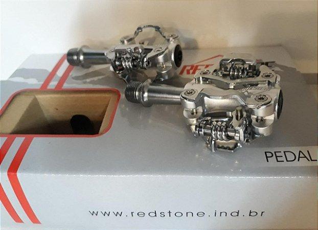Pedal Clip de Alumínio REDSTONE Prata