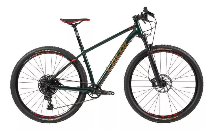 Bicicleta CALOI Elite 2020 SRAM SX 12v - Verde/ Laranja - Tam. 17