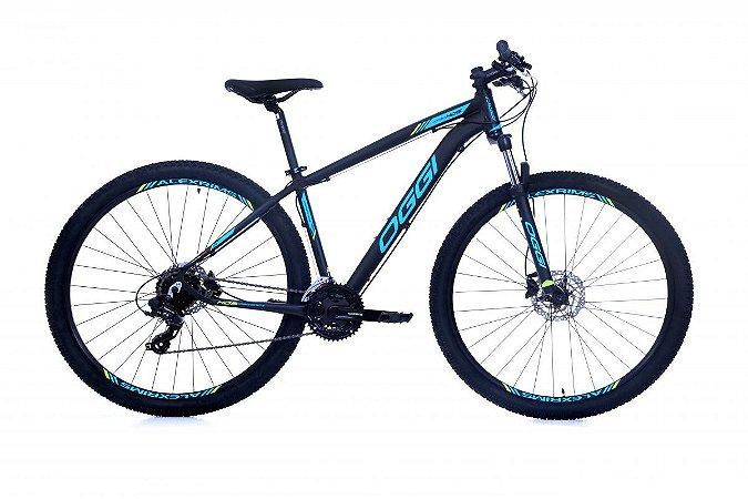 Bicicleta OGGI Hacker HDS Aro 29/24V Preto/Azul/Fluo S-Lime - Tam. 17