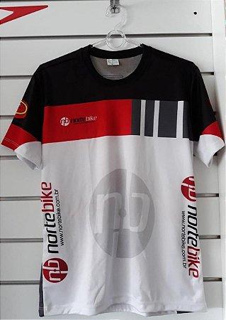 Camisa Ciclismo NORTE BIKE Branca/ Vermelha/ Preta - Tam. GG