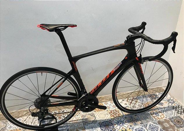 USADO - Bicicleta Speed de carbono - Scott Foil Premium 2017 - Preto/Lranja