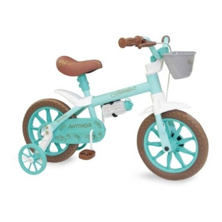 Bicicleta Feminina NATHOR Aro 12 Antonella Azul/Marrom