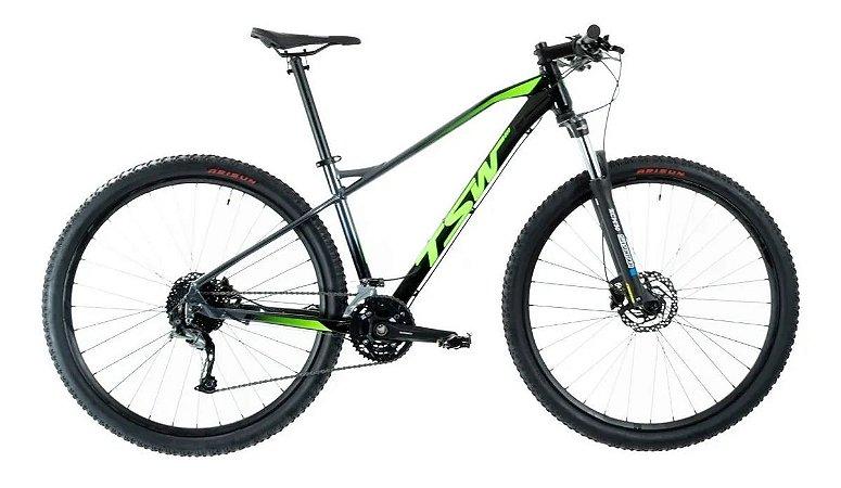 Bicicleta TSW Stamina 27V Preto/Verde - Tam. 15.5