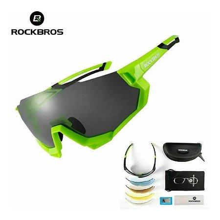 Óculos de Ciclismo ROCKBROS Unissex Verde (+4 Lentes)