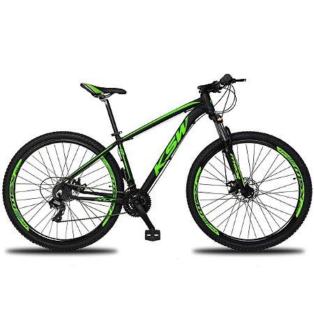 Bicicleta KSW XL 27V Preto/Verde - Tam. 19