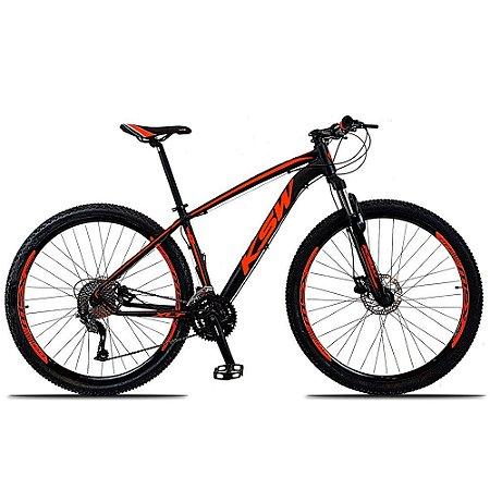 Bicicleta KSW XL 27V Preto/Laranja - Tam. 17