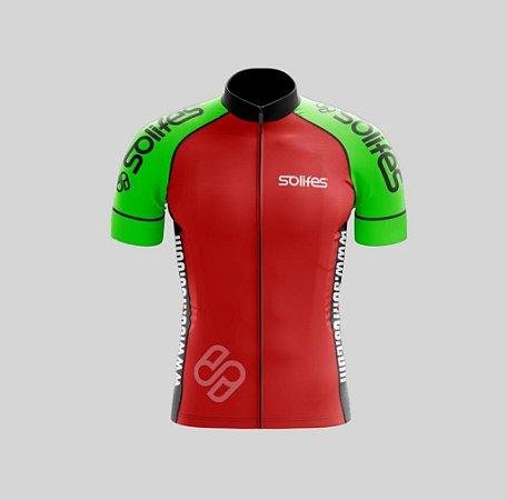 Camisa Ciclismo SOLIFES Vermelha/Verde Fluor M