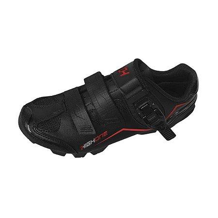 Sapatilha MTB HIGH ONE Feet Eur 2 Velcros 1 Trava Preto/Vermelho - Tam. 43