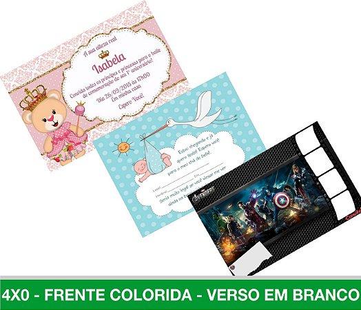50 Convites Personalizados 10X15CM - Aniversários/Chá de Fralda/Chá de panela - Qualquer tema à sua escolha.