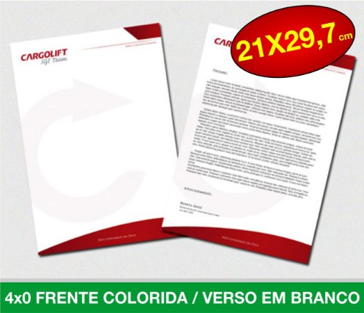 Papel Timbrado A4 (29.7x20,7cm) - 4x0