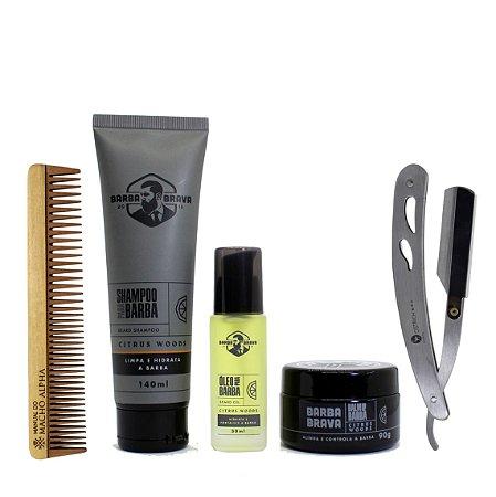 Kit Citrus Woods Barba Brava / MMA cuidado completo com a barba