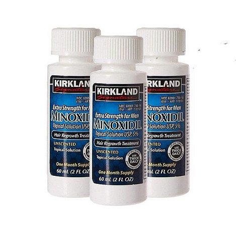 Minoxidil Kirkland 5% - 3 meses de tratamento - 3 frascos de 60ml