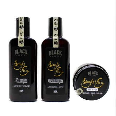 Kit Shampoo, Condicionador e Balm de barba Single Ron Black Barts