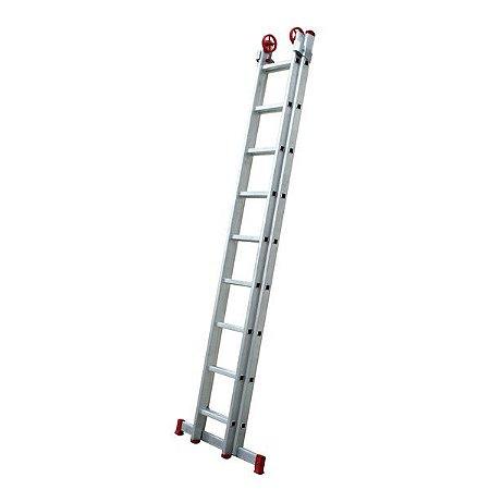 Escada extensiva de alumínio 2x7 degraus - Botafogo