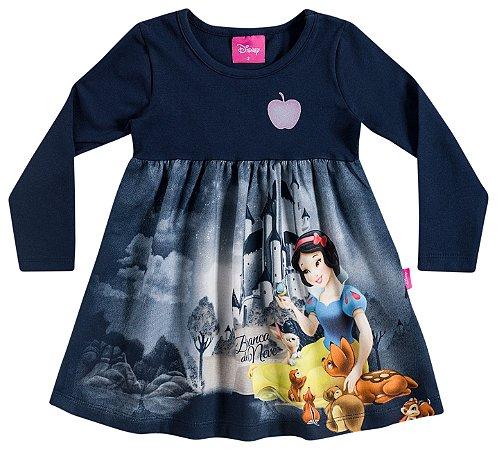 Vestido infantil estampado manga longa - Cinderela - Brandili