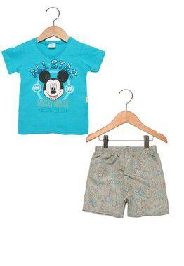 Conjunto masculino bermuda e camiseta de manga curta - Mickey - Brandili