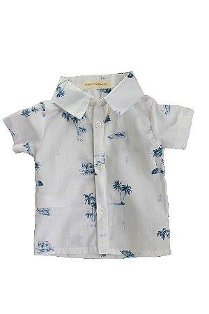 87144de1bfa05 Camisa Menino Manga Curta - Azul e Branca com coqueirinho - Tricoline - 100%  algodão