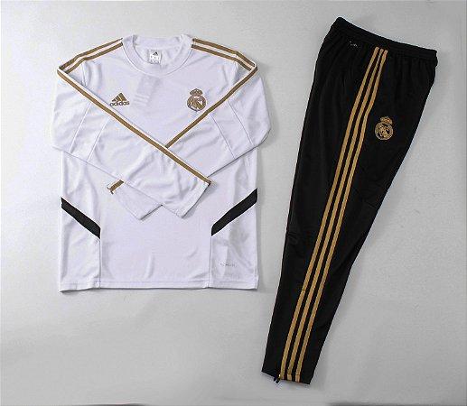d73080df8b Conjunto Real Madrid Casaco Calça Treino 2019 - 20 Branco Preto Dourado  Adidas