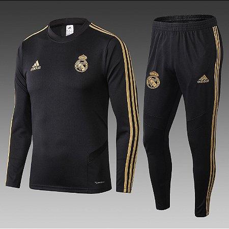 6e742a3b6d Conjunto Real Madrid Casaco Calça Treino 2019 - 20 Preto Dourado Adidas