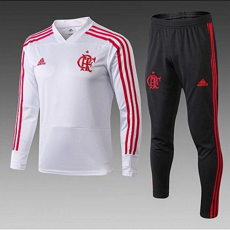 c8e74d2ca1 Conjunto Casaco Calça Flamengo 2018 2019 Branco Preto Adidas - Loja ...