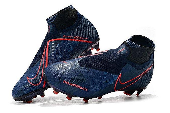 3f60f78e1cd Chuteira Nike Campo Cano Alto Phantom Vision Fully Charged Azul vermelha