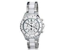 Relógio Feminino Mike 8187 Aço Inoxidável Prata e Branco