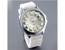 Relógio Feminino Womage Crisântemo Prata Quartz Pulseira Silicone Branca Ajustável