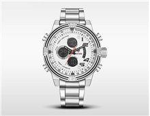 Relógio Masculino Weide WH5209 Quartz Branco Esportivo Pulseira Prata