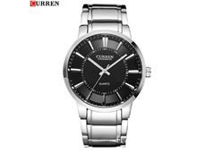 Relógio Masculino Curren Quartzo Preto Pulseira Prata Impermeável