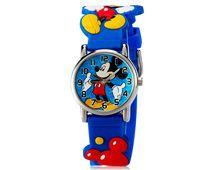 Relógio Infantil Mickey Pulseira Borracha Macia Azul