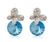 Brincos Borboleta Prata Brilhante Rigant com Pedra Azul