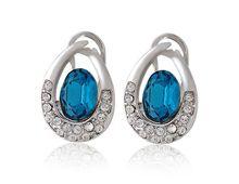 Brincos Prata Brilhante Rigant Oval com Diamante Azul