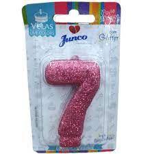 VELA DE ANIVERSÁRIO NUMERO 7 BRILHO PINK - JUNCO
