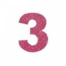NUMERO ''3'' EM EVA BRILHO PINK