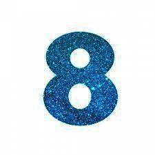 NUMERO ''8'' EM EVA BRILHO AZUL