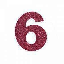 NUMERO ''6'' EM EVA BRILHO PINK