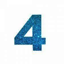 NUMERO ''4'' EM EVA BRILHO AZUL