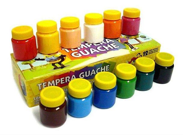 Tinta Tempera Guache Acrilex - 12 Potes com 15 ml cada