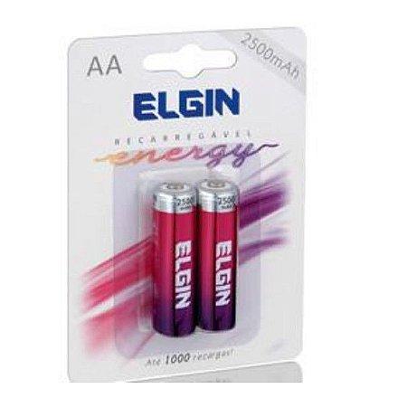 Pilha Recarregável AA 2500mah Elgin Blister com 02