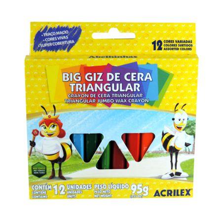Giz de Cera Big Triangular 12 Cores 95g - Acrilex