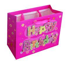 SACOLA HAPPY BIRTHDAY 23X17X10 nas cores azul. rosa e verde