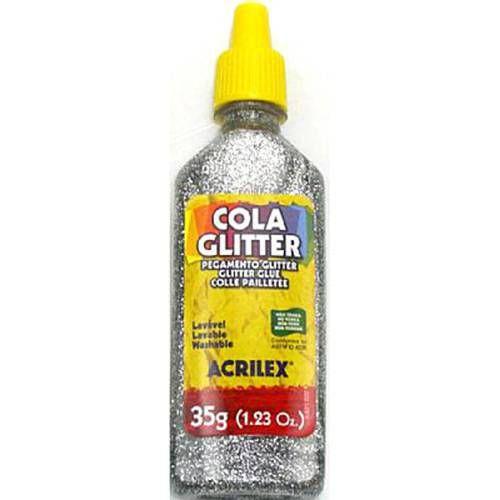 Cola Glitter Acrilex Escolar Prata