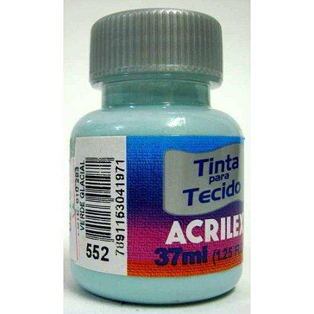 TINTA VERDE GLACIAL P/TECIDO ACRILEX  POTE 37ML