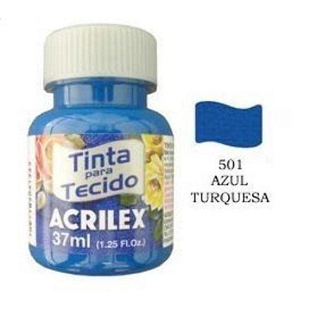 TINTA AZUL TURQUESSA P/TECIDO ACRILEX  POTE 37ML
