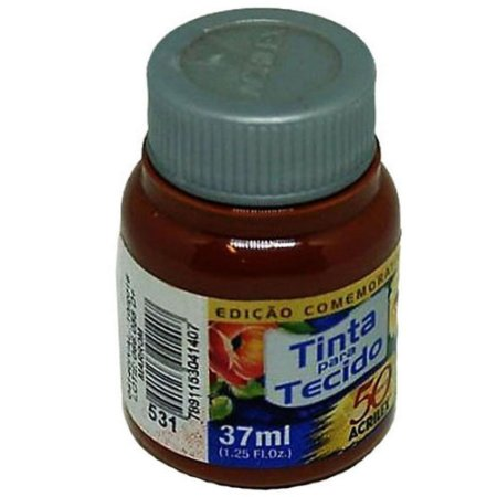 TINTA MARROM P/TECIDO ACRILEX  POTE 37ML