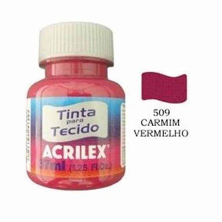 TINTA VERMELHO CARMIM P/TECIDO ACRILEX  POTE 37ML