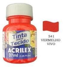 TINTA VERMELHO FOGO P/TECIDO ACRILEX  POTE 37ML