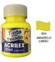 TINTA AMARELO LIMAO P/TECIDO ACRILEX  POTE 37ML