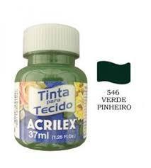 TINTA VERDE PINHEIRO P/TECIDO ACRILEX  POTE 37ML